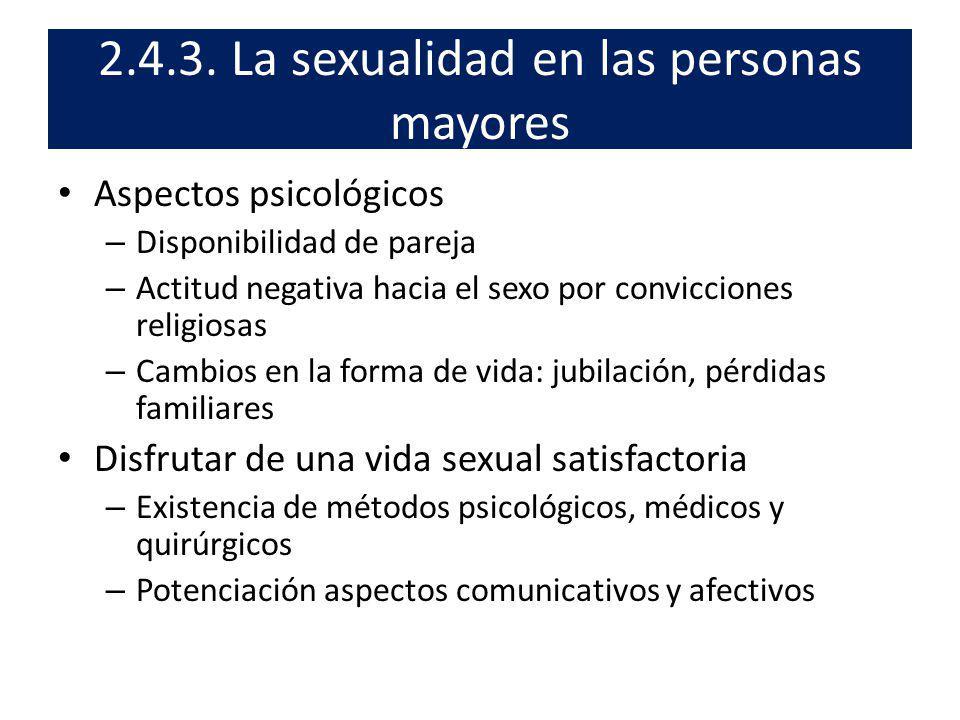 Aspectos psicológicos – Disponibilidad de pareja – Actitud negativa hacia el sexo por convicciones religiosas – Cambios en la forma de vida: jubilació