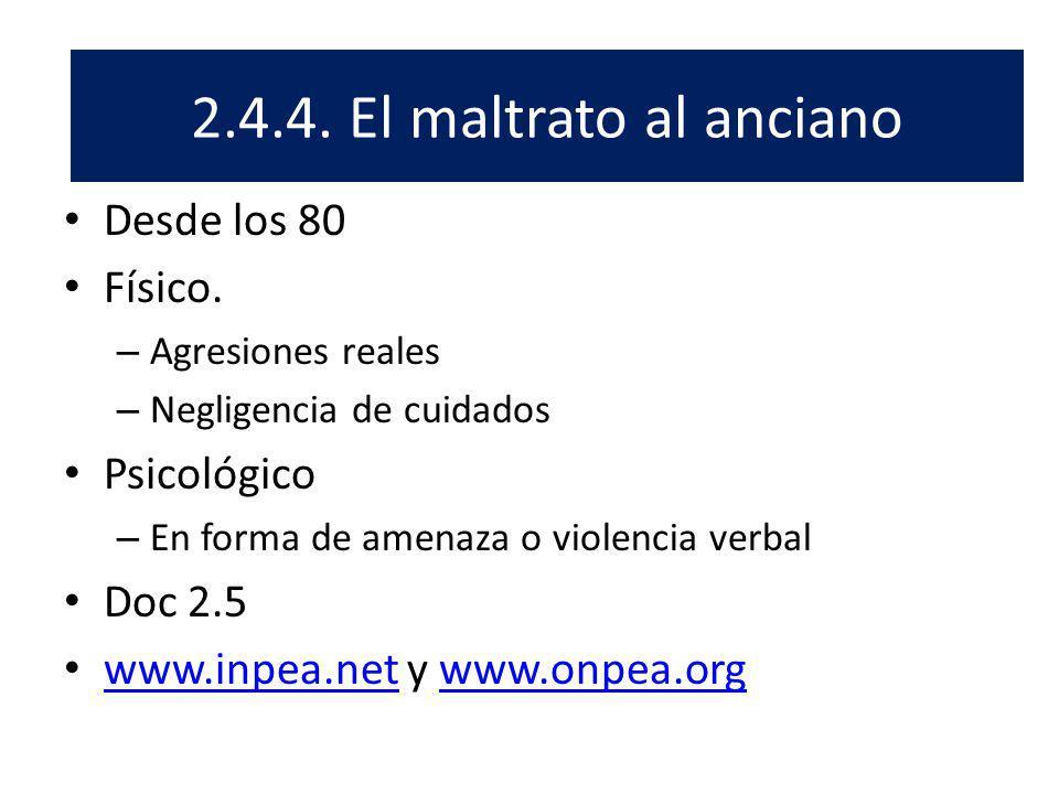 El Desde los 80 Físico. – Agresiones reales – Negligencia de cuidados Psicológico – En forma de amenaza o violencia verbal Doc 2.5 www.inpea.net y www