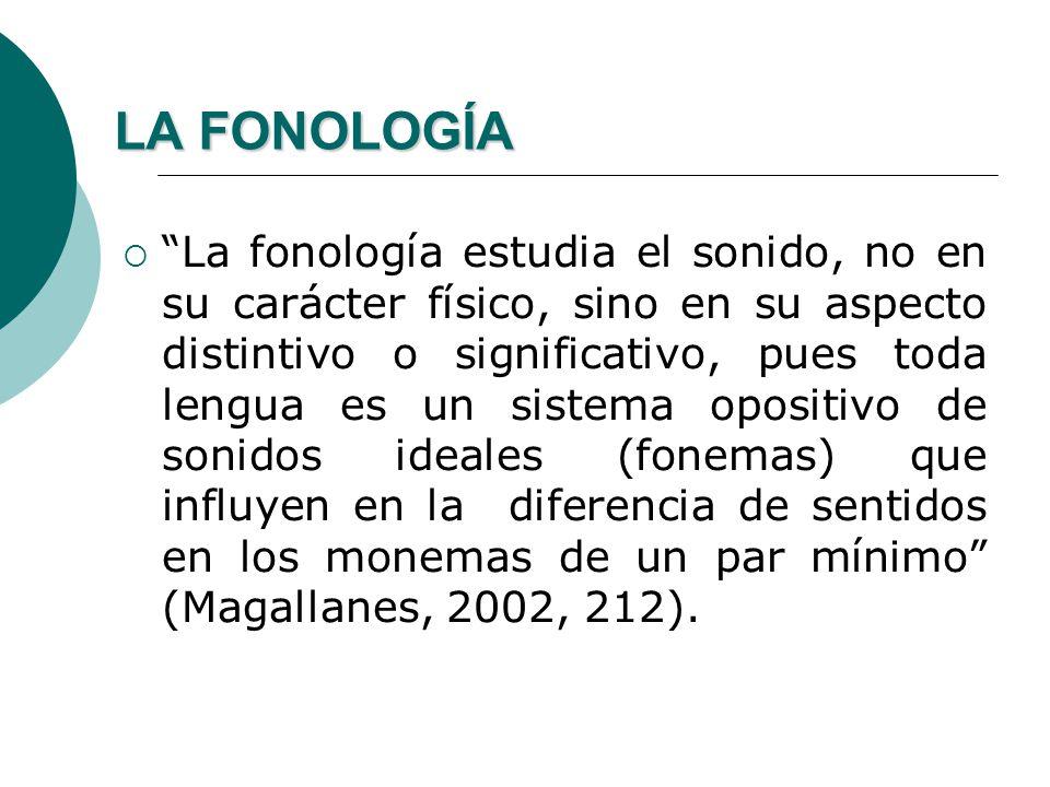 LA FONOLOGÍA La fonología se dedica a estudiar la estructura del sistema de expresión, la función que tienen los elementos fónicos en el lenguaje y la