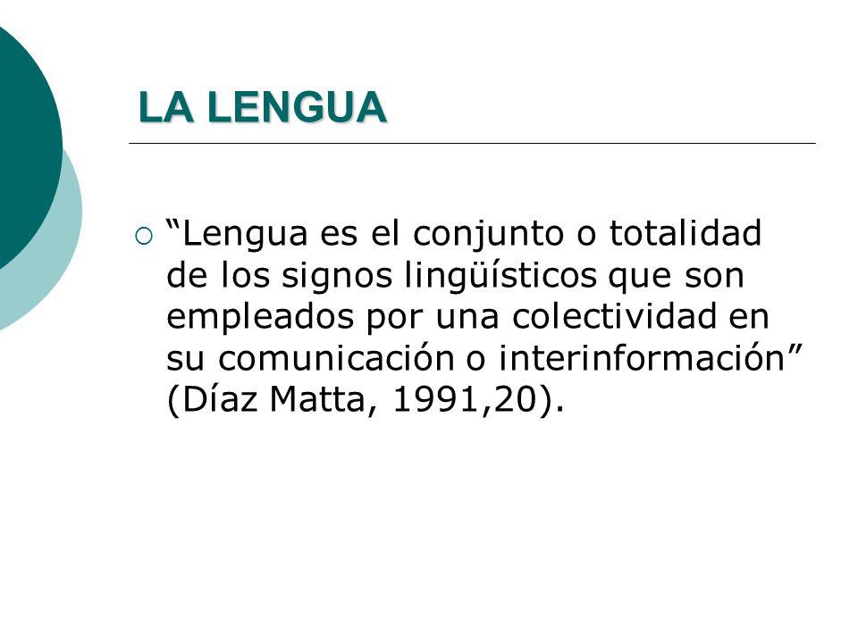 LA LENGUA La lengua es el sistema de signos que emplea una comunidad lingüística como instrumento de comunicación: es un modelo general, abstracto, pr