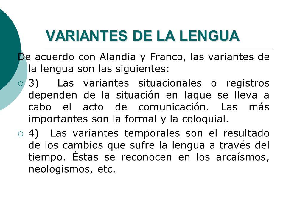 VARIANTES DE LA LENGUA De acuerdo con Alandia y Franco, las variantes de la lengua son las siguientes: 1) Las variantes geográficas o dialectos son aq