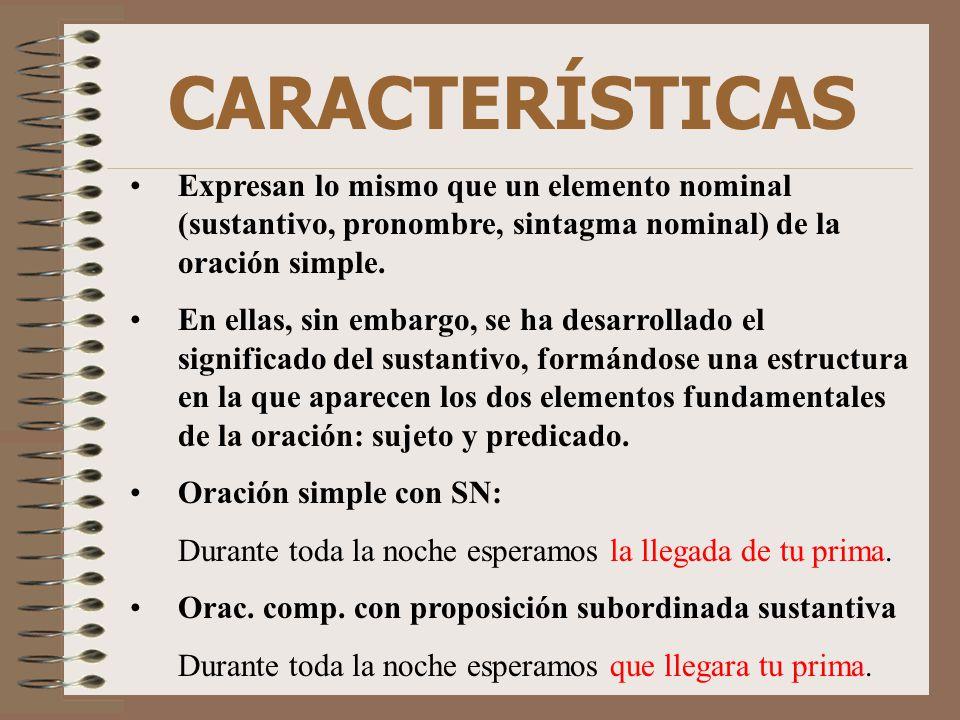 CARACTERÍSTICAS Nexos que las introducen: LA CONJUNCIÓN QUE.