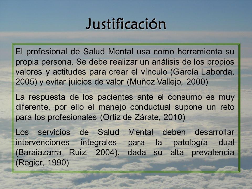 Justificación El profesional de Salud Mental usa como herramienta su propia persona.
