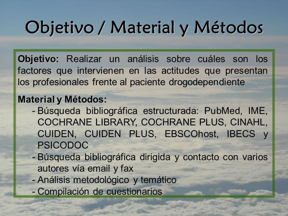 Objetivo / Material y Métodos Objetivo: Objetivo: Realizar un análisis sobre cuáles son los factores que intervienen en las actitudes que presentan los profesionales frente al paciente drogodependiente Material y Métodos: -Búsqueda bibliográfica estructurada: PubMed, IME, COCHRANE LIBRARY, COCHRANE PLUS, CINAHL, CUIDEN, CUIDEN PLUS, EBSCOhost, IBECS y PSICODOC -Búsqueda bibliográfica dirigida y contacto con varios autores vía email y fax -Análisis metodológico y temático -Compilación de cuestionarios