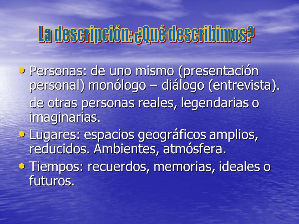 Personas: de uno mismo (presentación personal) monólogo – diálogo (entrevista). Personas: de uno mismo (presentación personal) monólogo – diálogo (ent