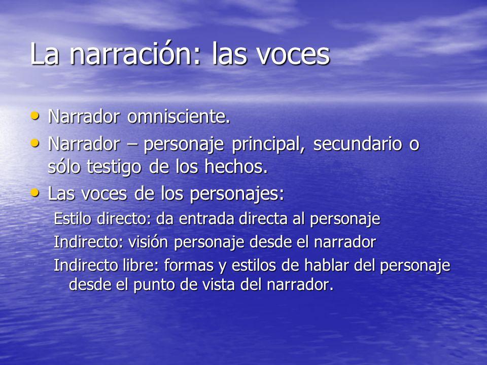 La narración: las voces Narrador omnisciente. Narrador omnisciente. Narrador – personaje principal, secundario o sólo testigo de los hechos. Narrador