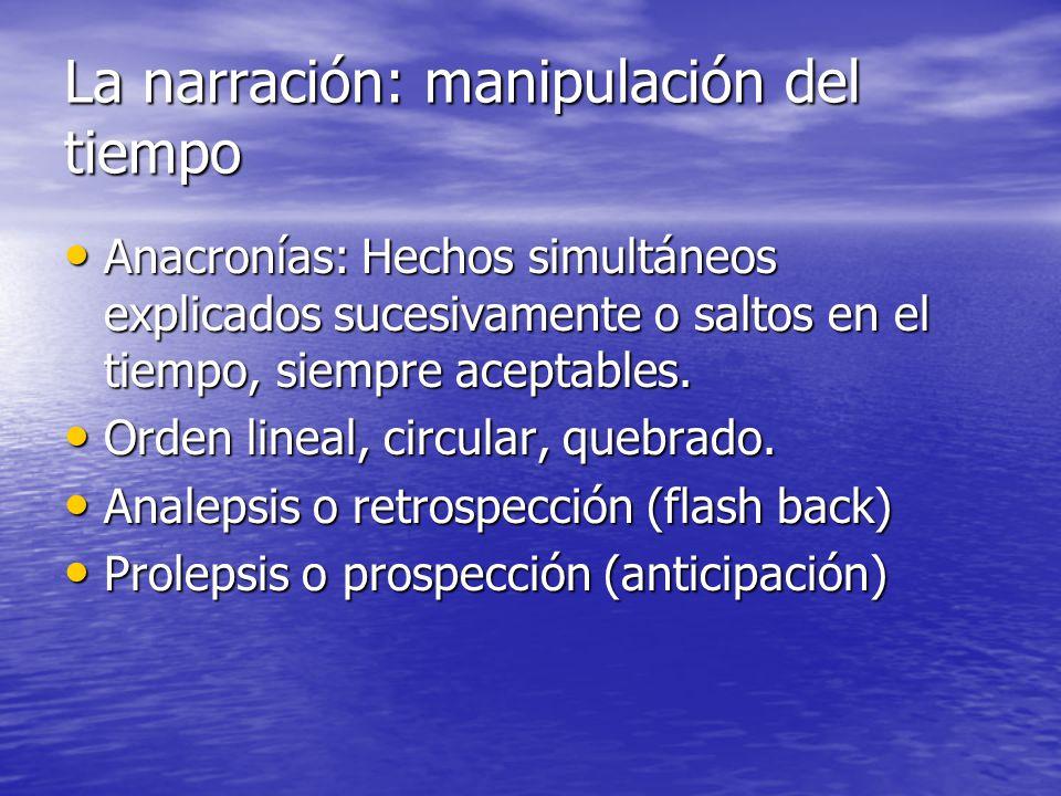 La narración: manipulación del tiempo Anacronías: Hechos simultáneos explicados sucesivamente o saltos en el tiempo, siempre aceptables. Anacronías: H