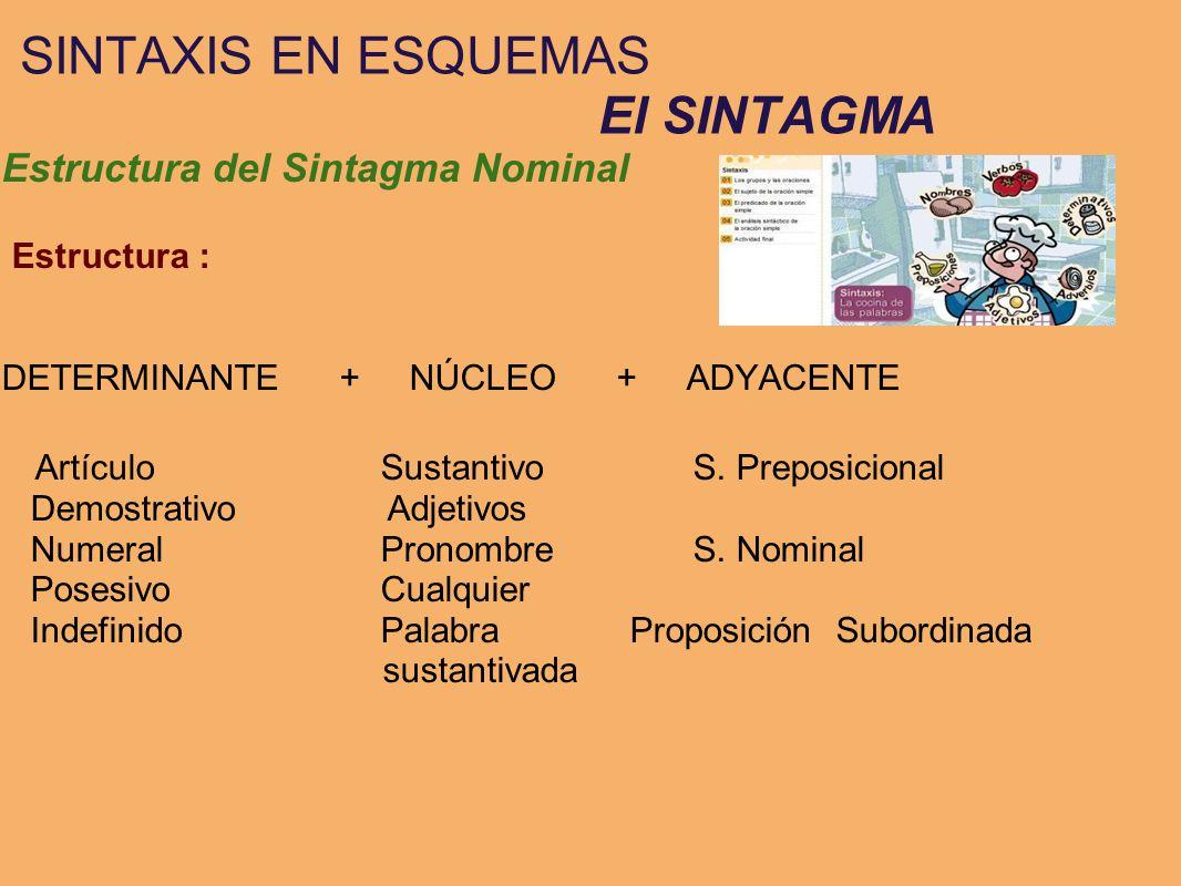 SINTAXIS EN ESQUEMAS El SINTAGMA Estructura del Sintagma Nominal Estructura : DETERMINANTE + NÚCLEO + ADYACENTE Artículo Sustantivo S. Preposicional D