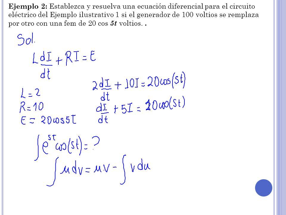 Ejemplo 2: Establezca y resuelva una ecuación diferencial para el circuito eléctrico del Ejemplo ilustrativo 1 si el generador de 100 voltios se rempl
