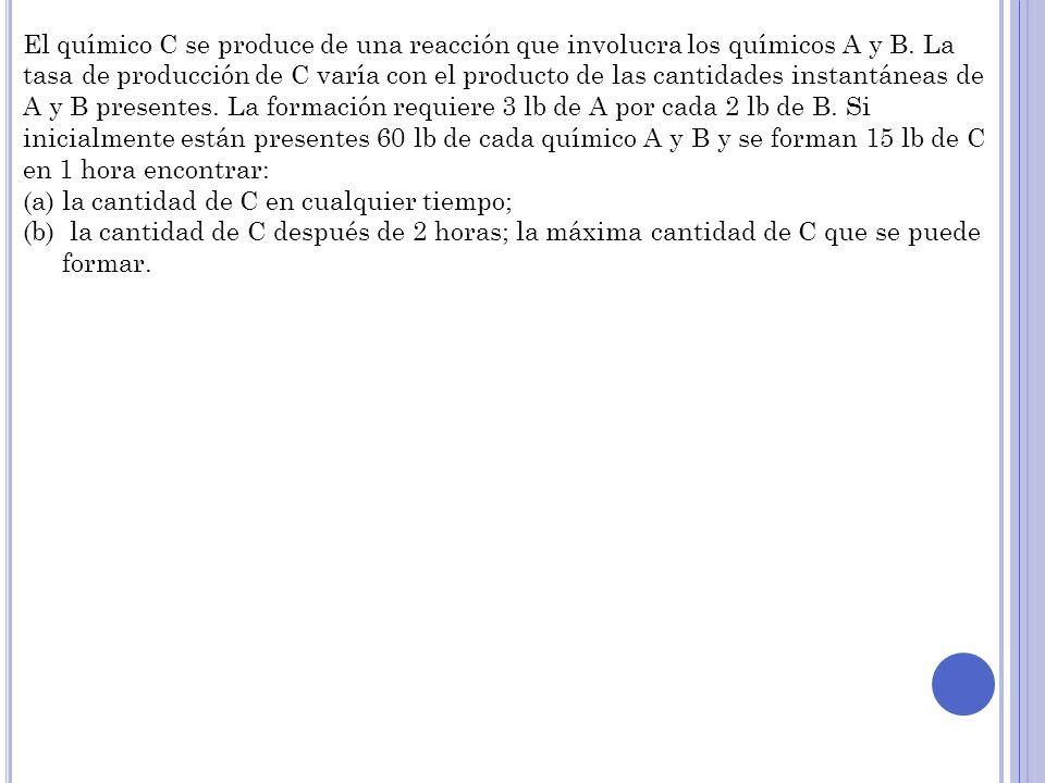 El químico C se produce de una reacción que involucra los químicos A y B. La tasa de producción de C varía con el producto de las cantidades instantán
