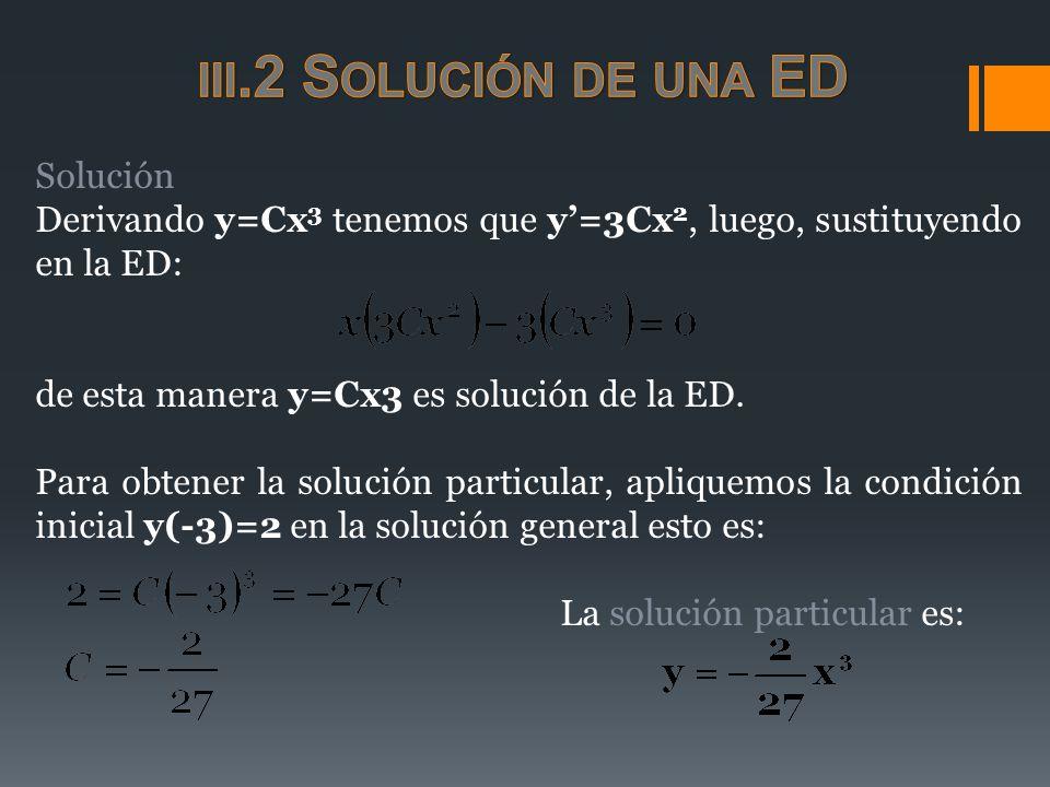 Solución Derivando y=Cx 3 tenemos que y=3Cx 2, luego, sustituyendo en la ED: de esta manera y=Cx3 es solución de la ED. Para obtener la solución parti
