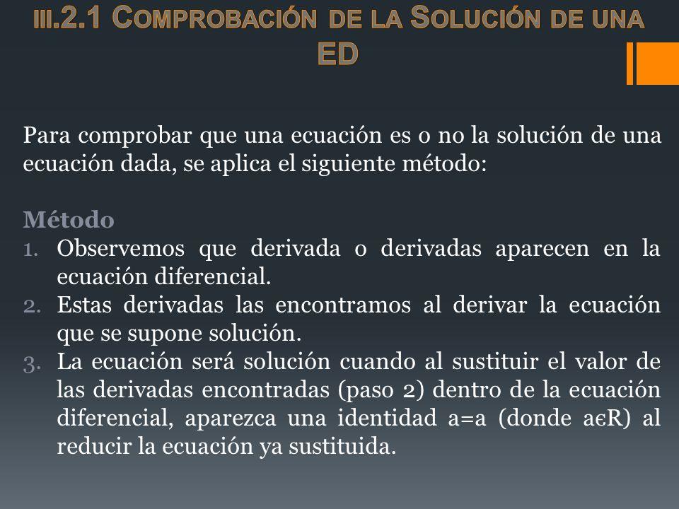 Para comprobar que una ecuación es o no la solución de una ecuación dada, se aplica el siguiente método: Método 1.Observemos que derivada o derivadas