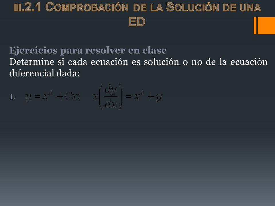 Ejercicios para resolver en clase Determine si cada ecuación es solución o no de la ecuación diferencial dada: 1.