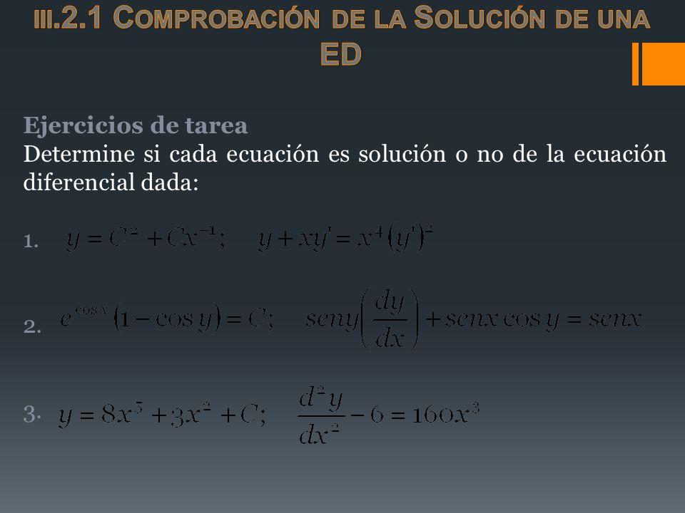 Ejercicios de tarea Determine si cada ecuación es solución o no de la ecuación diferencial dada: 1. 2. 3.