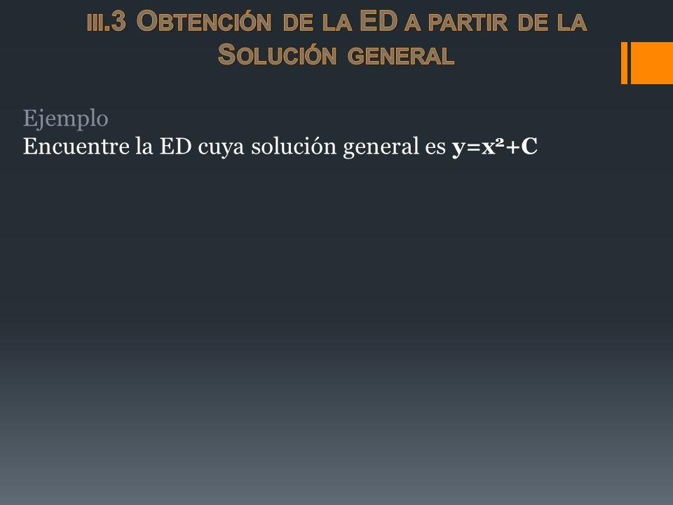 Ejemplo Encuentre la ED cuya solución general es y=x 2 +C