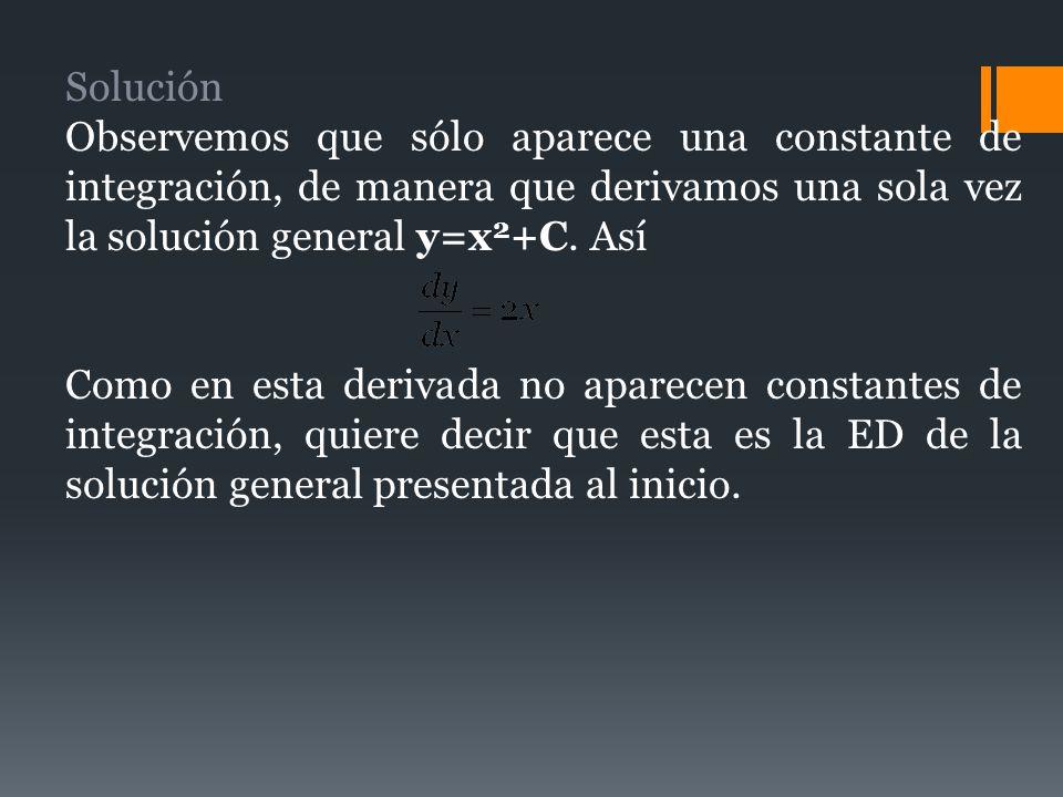 Solución Observemos que sólo aparece una constante de integración, de manera que derivamos una sola vez la solución general y=x 2 +C. Así Como en esta