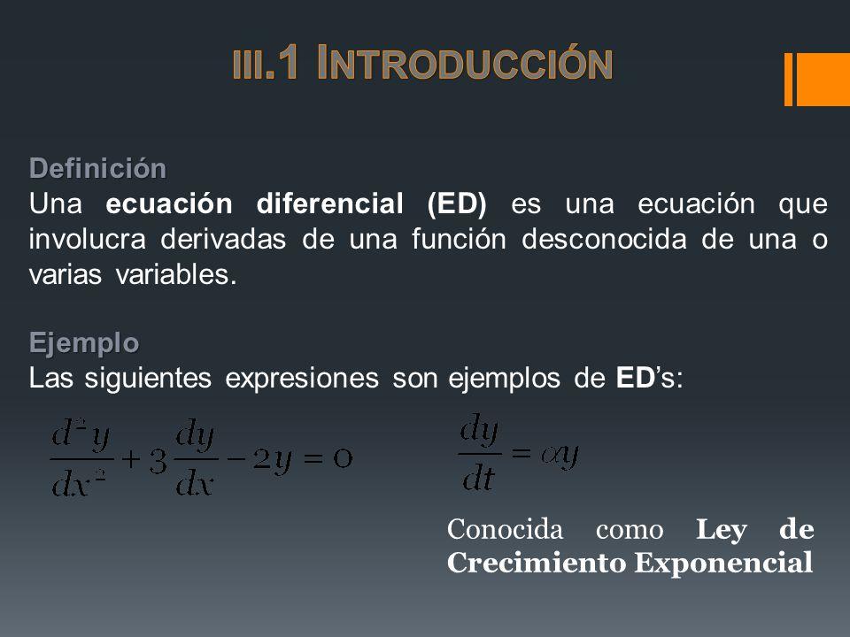 Definición Una ecuación diferencial (ED) es una ecuación que involucra derivadas de una función desconocida de una o varias variables.Ejemplo Las sigu