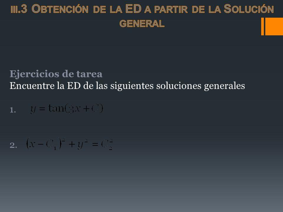 Ejercicios de tarea Encuentre la ED de las siguientes soluciones generales 1. 2.
