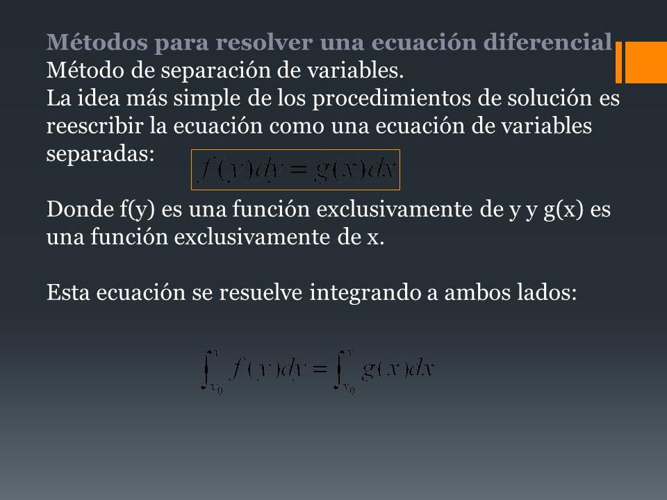 Métodos para resolver una ecuación diferencial Método de separación de variables. La idea más simple de los procedimientos de solución es reescribir l