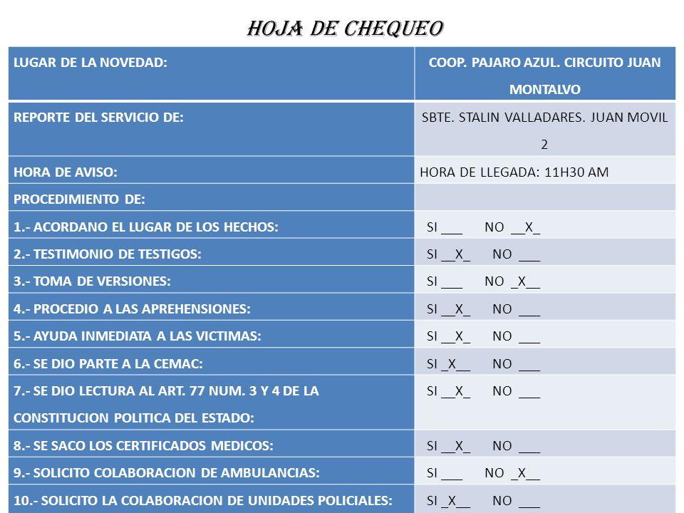 HOJA DE CHEQUEO LUGAR DE LA NOVEDAD: COOP. PAJARO AZUL. CIRCUITO JUAN MONTALVO REPORTE DEL SERVICIO DE: SBTE. STALIN VALLADARES. JUAN MOVIL 2 HORA DE