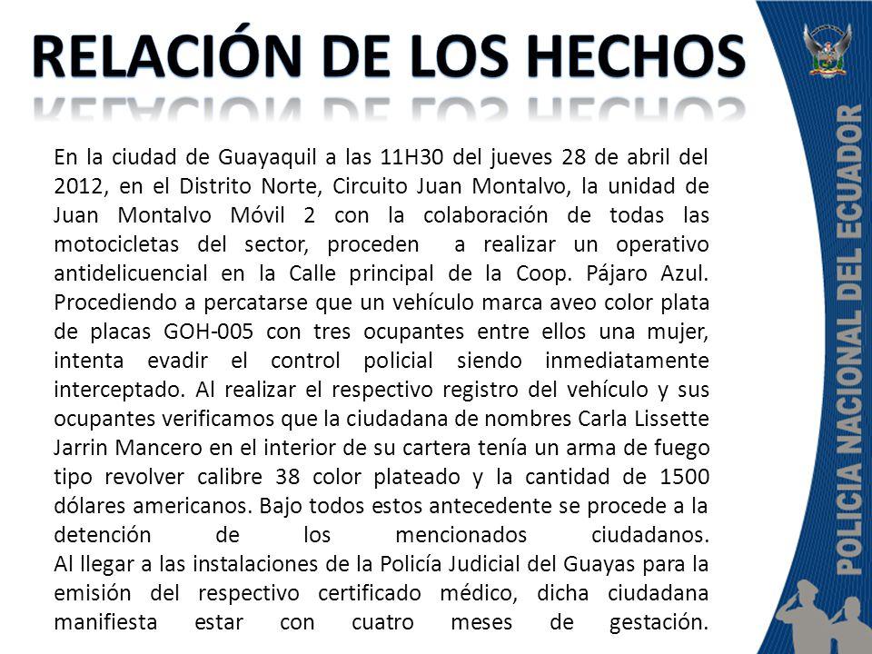 En la ciudad de Guayaquil a las 11H30 del jueves 28 de abril del 2012, en el Distrito Norte, Circuito Juan Montalvo, la unidad de Juan Montalvo Móvil