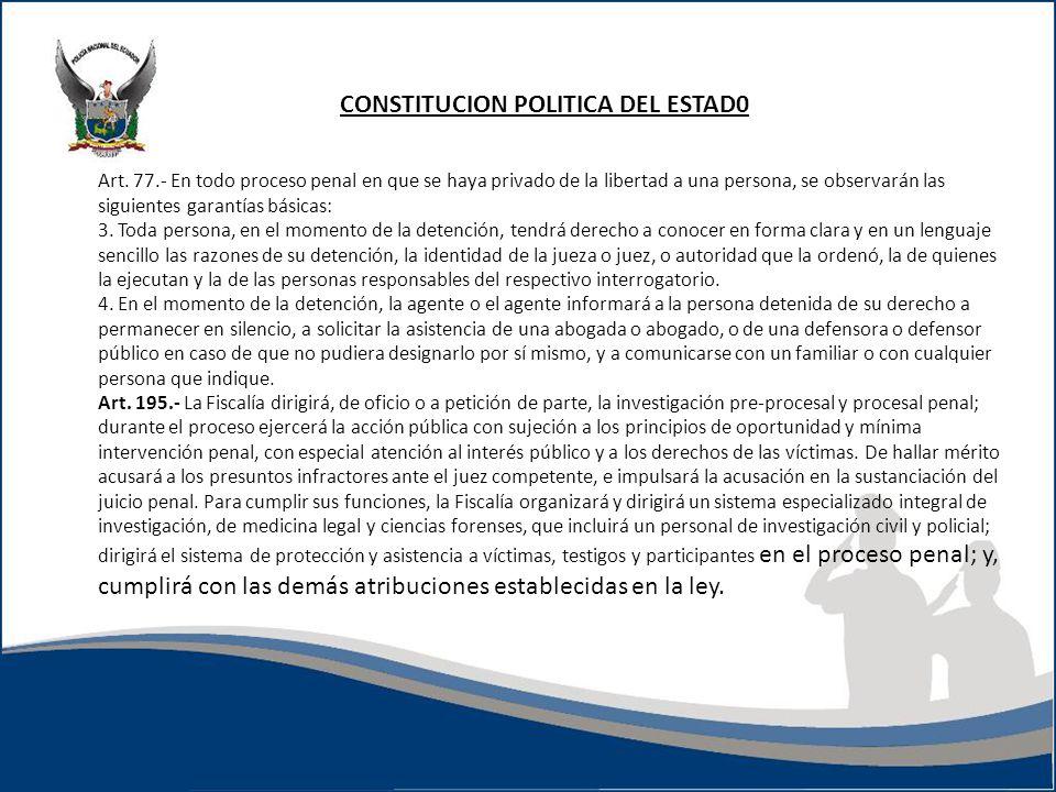 CONSTITUCION POLITICA DEL ESTAD0 Art. 77.- En todo proceso penal en que se haya privado de la libertad a una persona, se observarán las siguientes gar