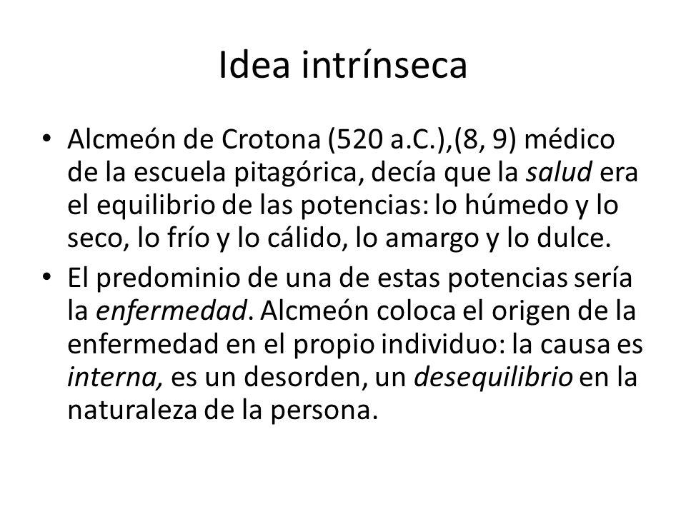 Idea intrínseca Alcmeón de Crotona (520 a.C.),(8, 9) médico de la escuela pitagórica, decía que la salud era el equilibrio de las potencias: lo húmedo