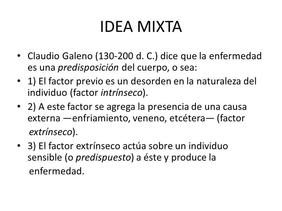 IDEA MIXTA Claudio Galeno (130-200 d. C.) dice que la enfermedad es una predisposición del cuerpo, o sea: 1) El factor previo es un desorden en la nat