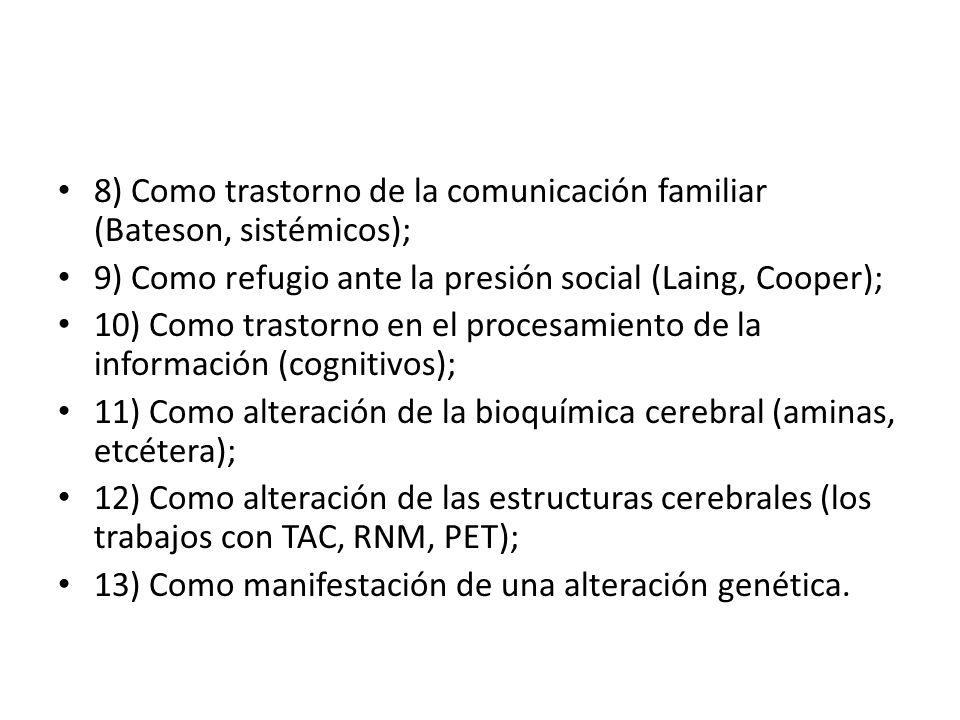 8) Como trastorno de la comunicación familiar (Bateson, sistémicos); 9) Como refugio ante la presión social (Laing, Cooper); 10) Como trastorno en el