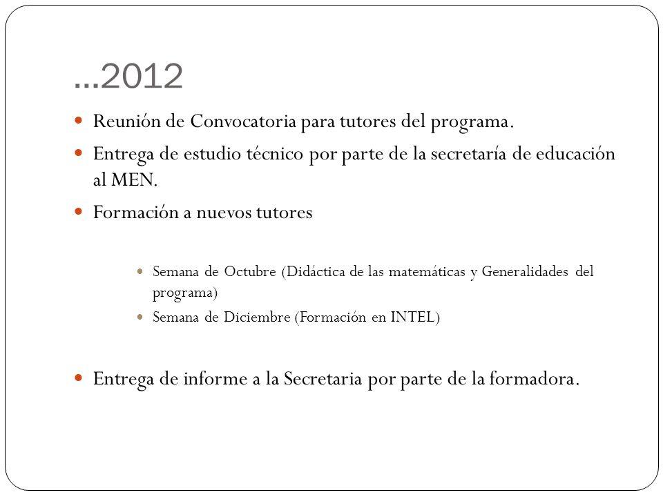 …2012 Reunión de Convocatoria para tutores del programa.