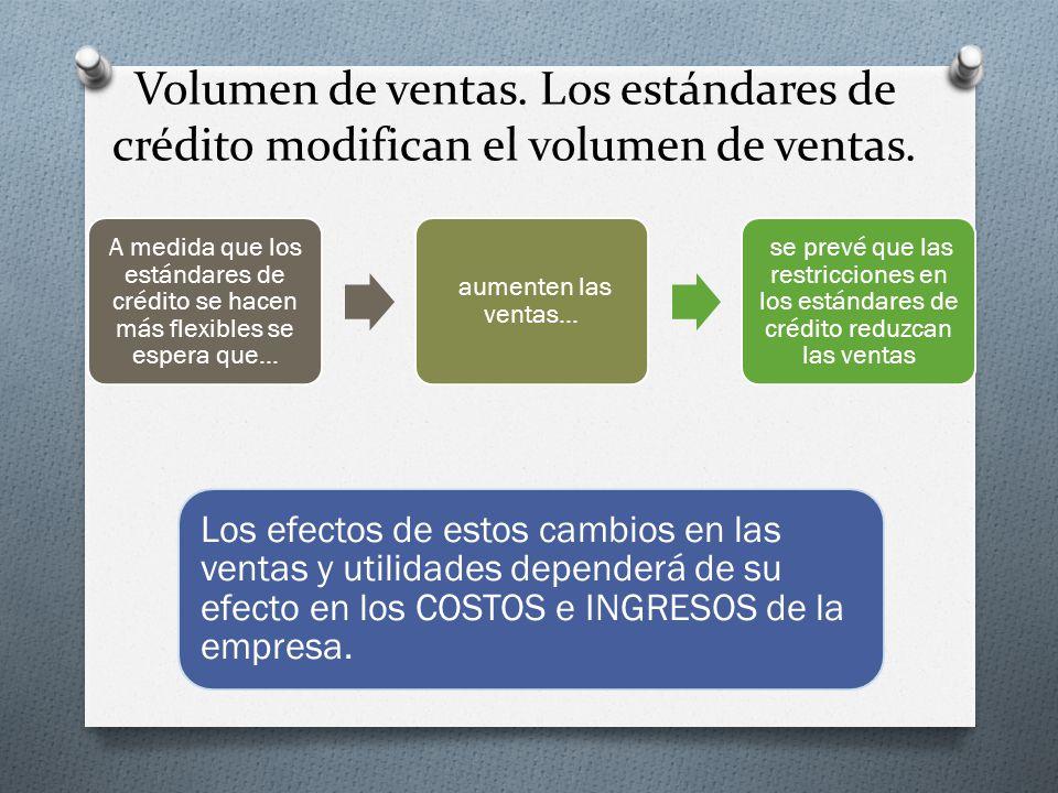 Volumen de ventas.Los estándares de crédito modifican el volumen de ventas.