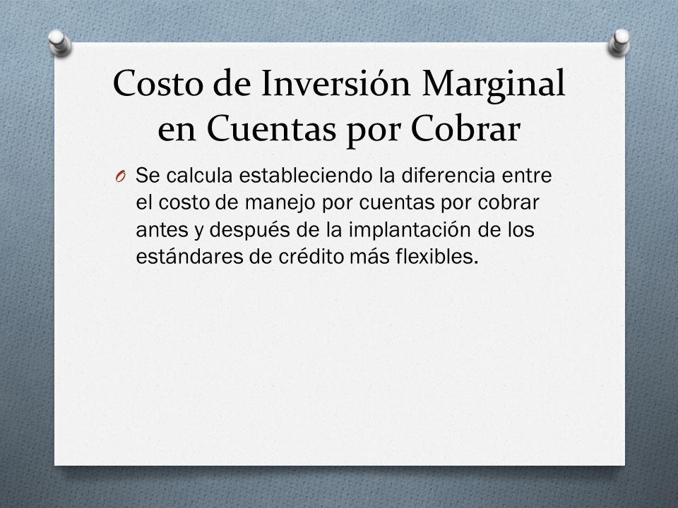 Costo de Inversión Marginal en Cuentas por Cobrar O Se calcula estableciendo la diferencia entre el costo de manejo por cuentas por cobrar antes y después de la implantación de los estándares de crédito más flexibles.