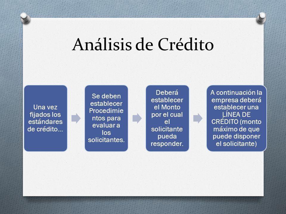 Análisis de Crédito Una vez fijados los estándares de crédito… Se deben establecer Procedimie ntos para evaluar a los solicitantes.