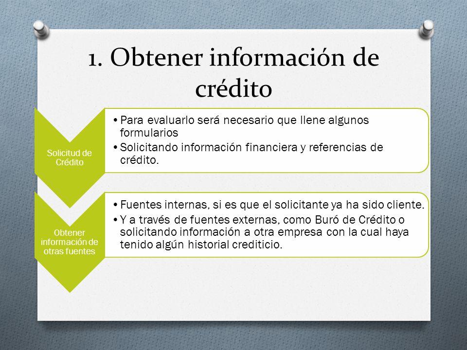 1. Obtener información de crédito Solicitud de Crédito Para evaluarlo será necesario que llene algunos formularios Solicitando información financiera