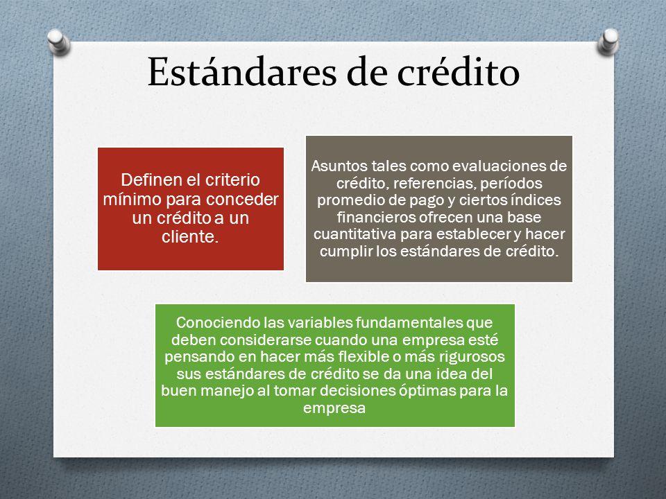 Estándares de crédito Definen el criterio mínimo para conceder un crédito a un cliente.