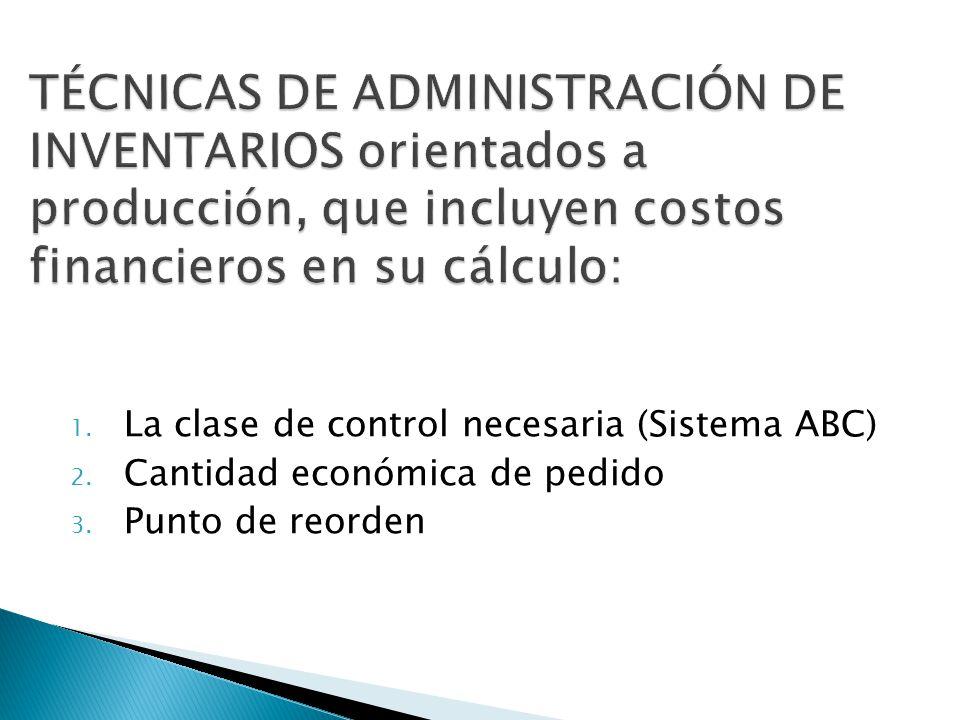 1. La clase de control necesaria (Sistema ABC) 2. Cantidad económica de pedido 3. Punto de reorden