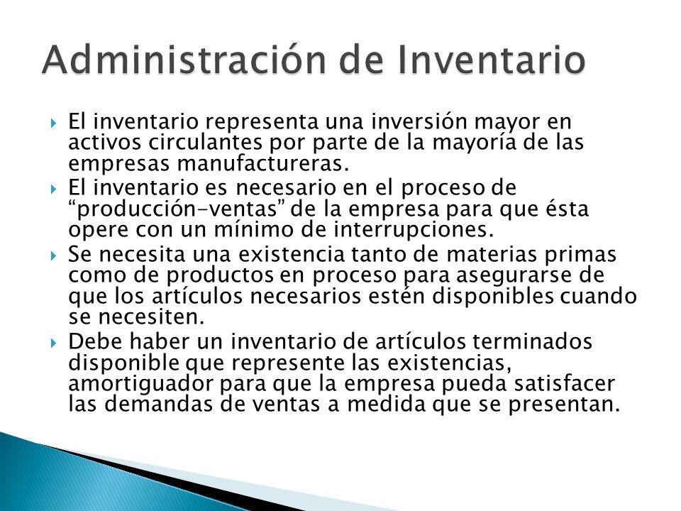 El inventario representa una inversión mayor en activos circulantes por parte de la mayoría de las empresas manufactureras. El inventario es necesario