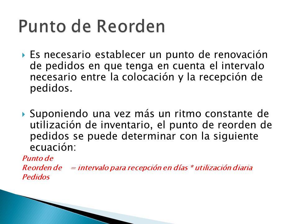 Es necesario establecer un punto de renovación de pedidos en que tenga en cuenta el intervalo necesario entre la colocación y la recepción de pedidos.