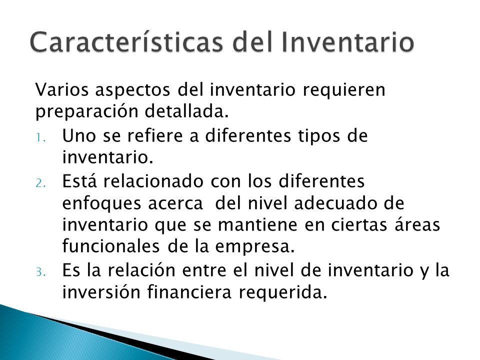 Varios aspectos del inventario requieren preparación detallada. 1. Uno se refiere a diferentes tipos de inventario. 2. Está relacionado con los difere