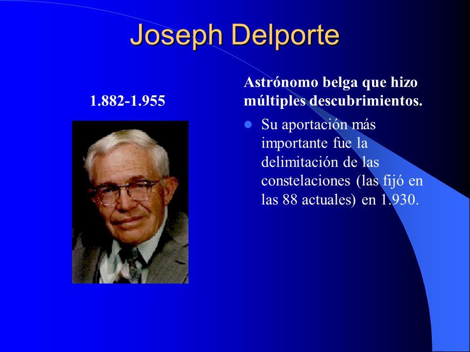 Joseph Delporte 1.882-1.955 Astrónomo belga que hizo múltiples descubrimientos. Su aportación más importante fue la delimitación de las constelaciones