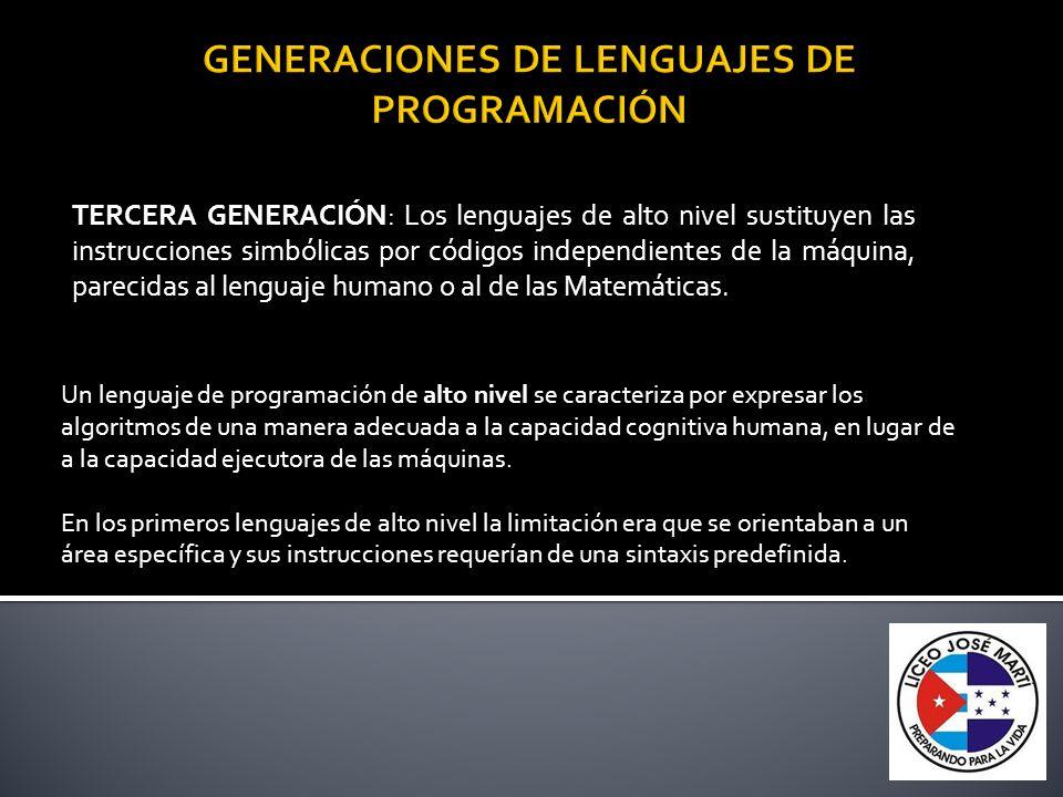 TERCERA GENERACIÓN: Los lenguajes de alto nivel sustituyen las instrucciones simbólicas por códigos independientes de la máquina, parecidas al lenguaj