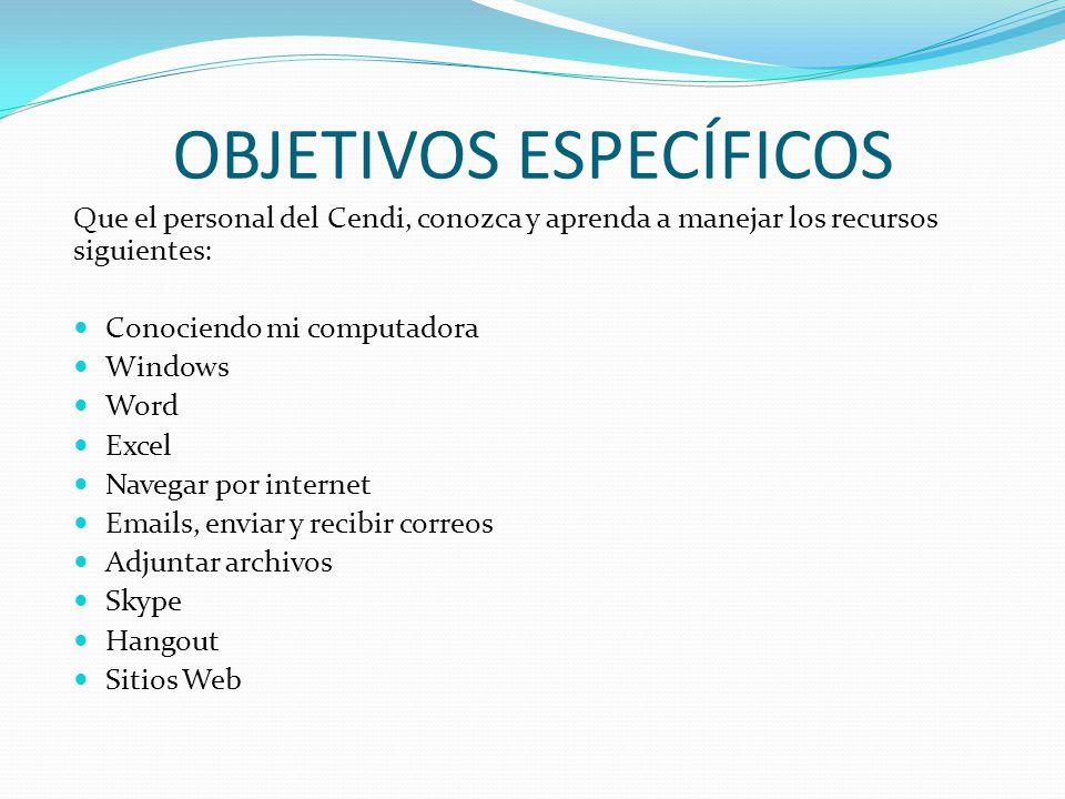 OBJETIVOS ESPECÍFICOS Que el personal del Cendi, conozca y aprenda a manejar los recursos siguientes: Conociendo mi computadora Windows Word Excel Nav