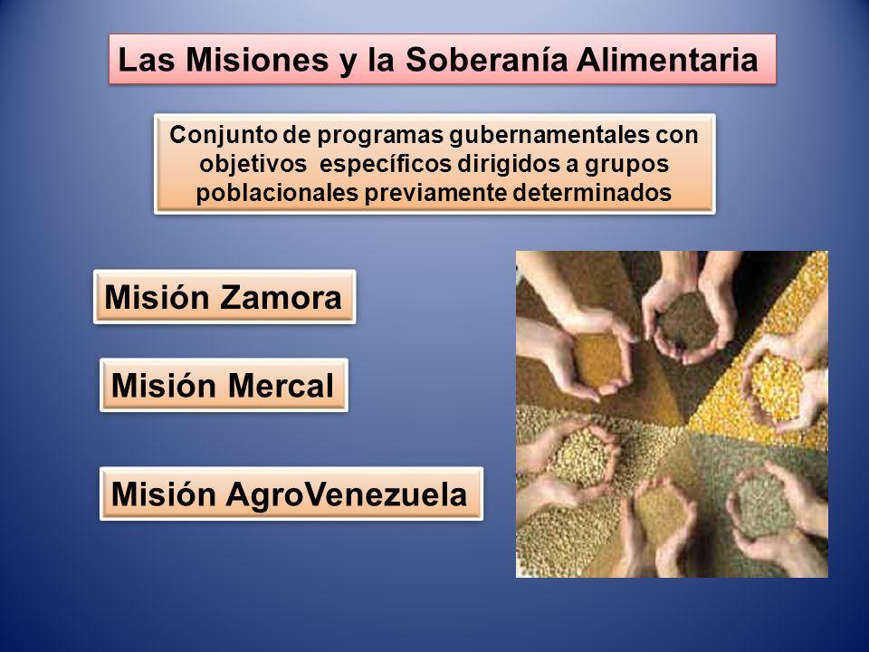 Las Misiones y la Soberanía Alimentaria Conjunto de programas gubernamentales con objetivos específicos dirigidos a grupos poblacionales previamente d