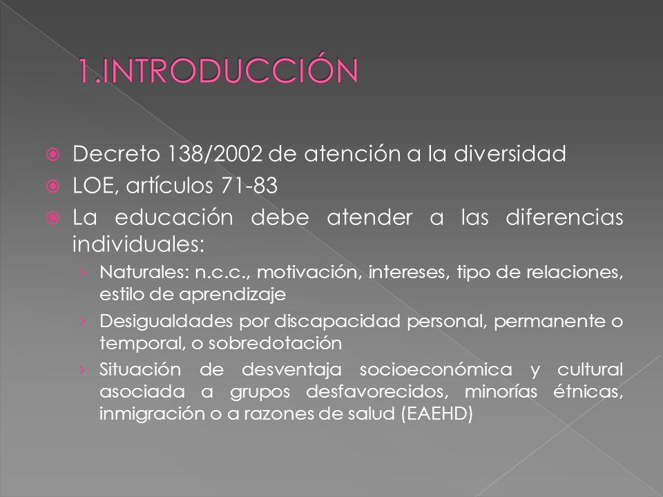 Decreto 138/2002 de atención a la diversidad LOE, artículos 71-83 La educación debe atender a las diferencias individuales: Naturales: n.c.c., motivac