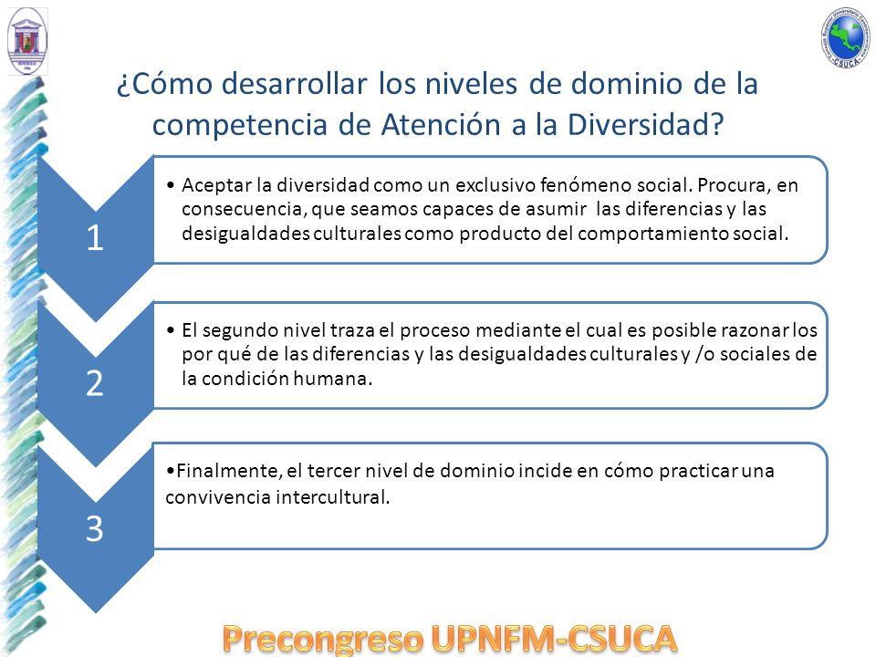 ¿Cómo desarrollar los niveles de dominio de la competencia de Atención a la Diversidad? 1 Aceptar la diversidad como un exclusivo fenómeno social. Pro