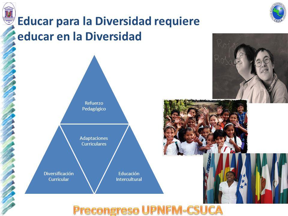 Educar para la Diversidad requiere educar en la Diversidad Refuerzo Pedagógico Diversificación Curricular Adaptaciones Curriculares Educación Intercul