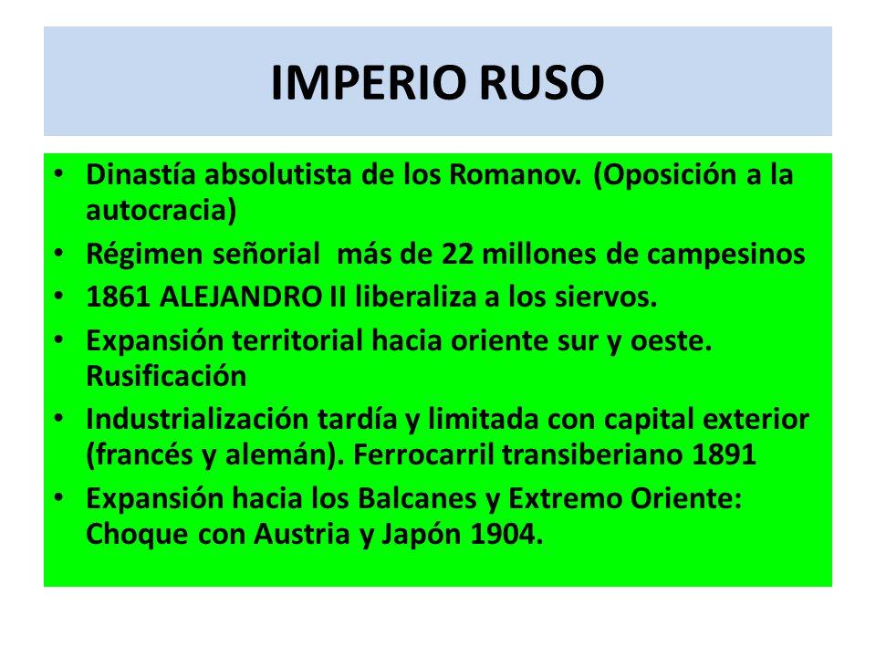 IMPERIO RUSO Dinastía absolutista de los Romanov. (Oposición a la autocracia) Régimen señorial más de 22 millones de campesinos 1861 ALEJANDRO II libe