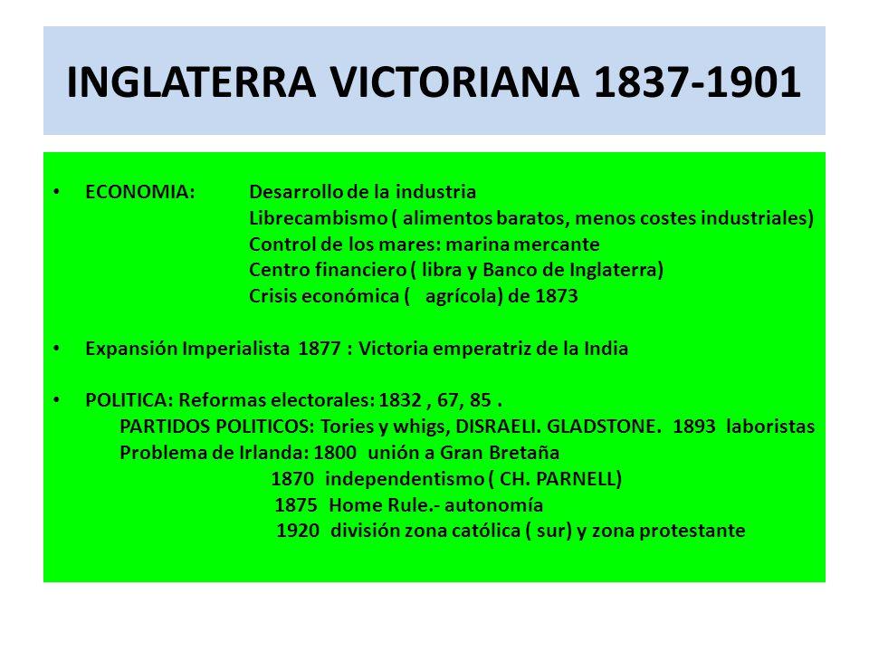 INGLATERRA VICTORIANA 1837-1901 ECONOMIA: Desarrollo de la industria Librecambismo ( alimentos baratos, menos costes industriales) Control de los mares: marina mercante Centro financiero ( libra y Banco de Inglaterra) Crisis económica ( agrícola) de 1873 Expansión Imperialista 1877 : Victoria emperatriz de la India POLITICA: Reformas electorales: 1832, 67, 85.