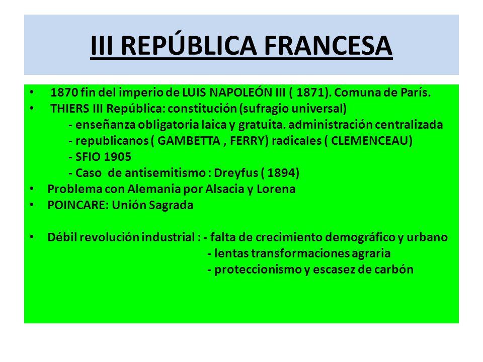 III REPÚBLICA FRANCESA 1870 fin del imperio de LUIS NAPOLEÓN III ( 1871). Comuna de París. THIERS III República: constitución (sufragio universal) - e