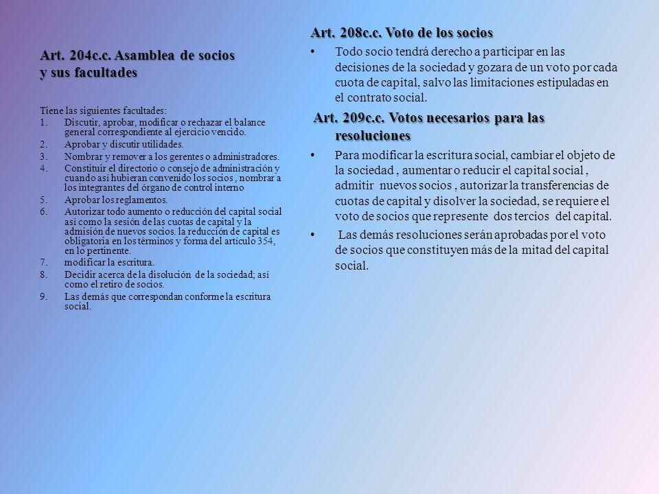 Art. 204c.c. Asamblea de socios y sus facultades Art. 208c.c. Voto de los socios Todo socio tendrá derecho a participar en las decisiones de la socied